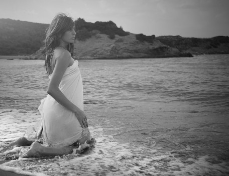 girl kneeling in waves - Trash The Dress