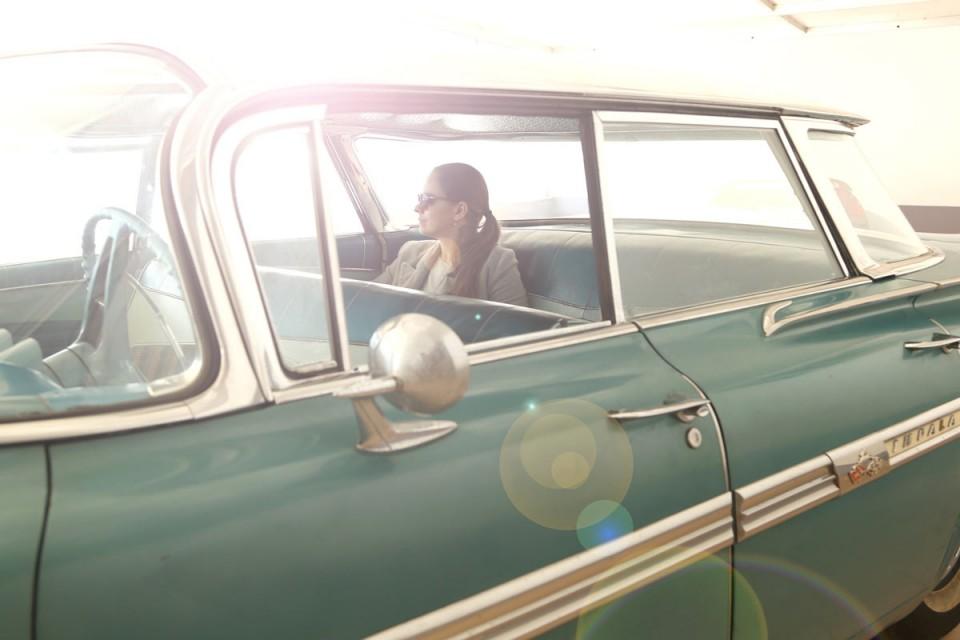 woman in American car