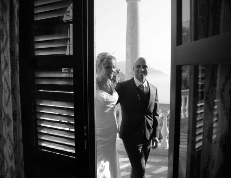 wedding couple entering through door - Son Marroig