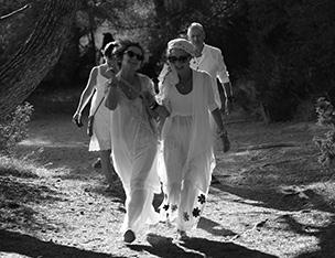 wedding couple on path