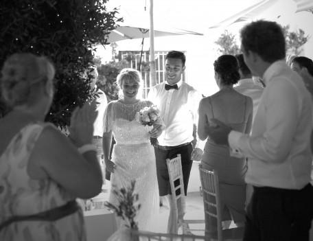 wedding couple enter breakfast - Elixir Shore Club