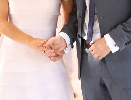 bride and groom holding hands - Son Berga