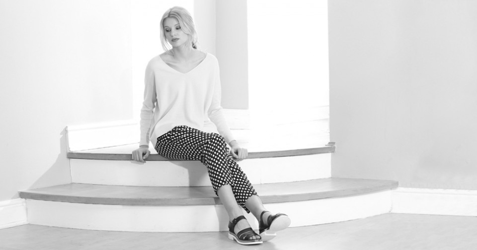 fashion model on steps