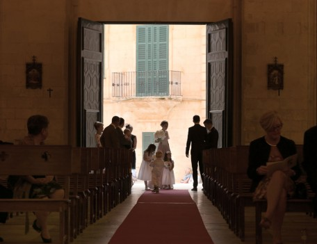 people enter church - Santa Maria Ciudadella