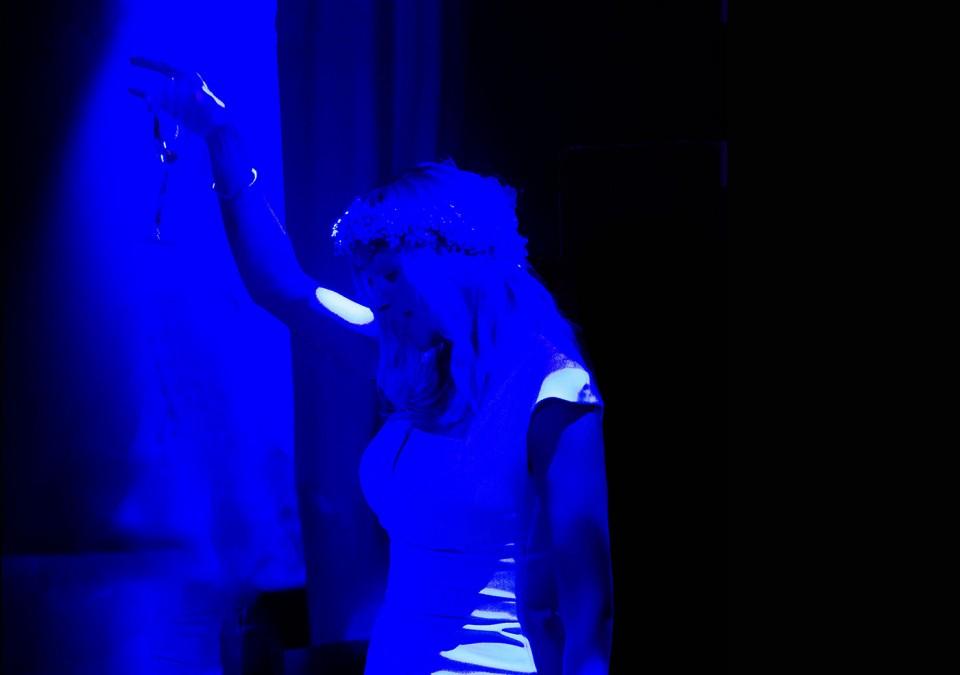 girl on dancefloor with glass