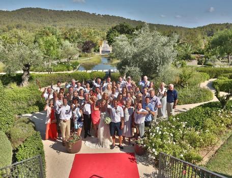 wedding group photograph in garden - Castell Son Claret