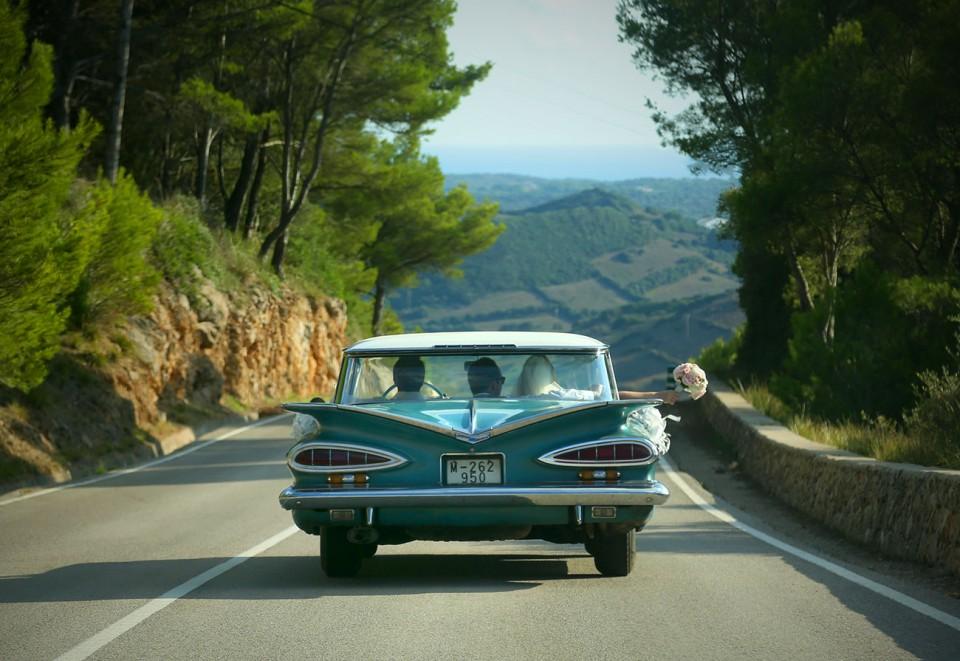 wedding car on road