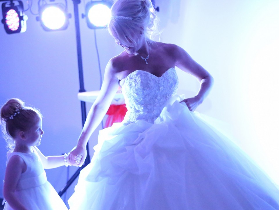 bride on dance floor with girl