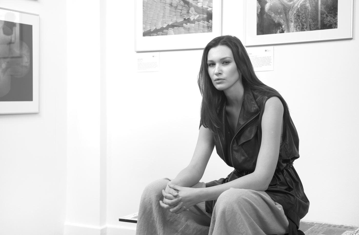 model sat on bench