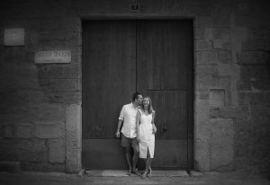 Couple by door