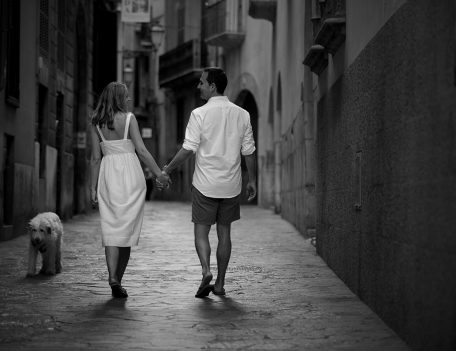 Couple in street - Palma Engagement Shoot