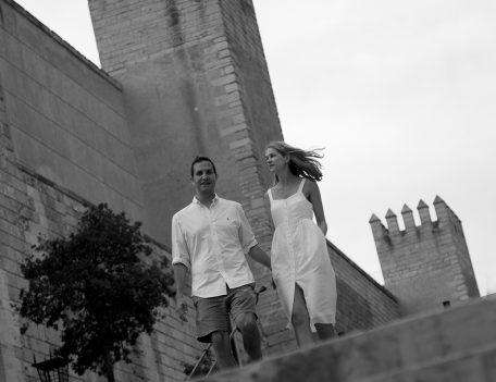 Couple by castle - Palma Engagement Shoot