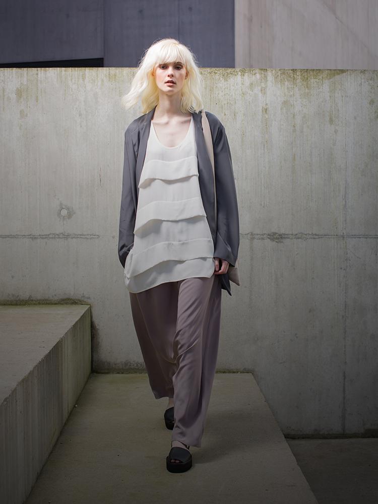 fashion model on concrete steps