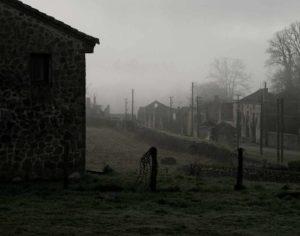 destroyed village street