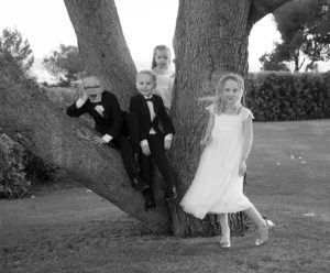 kids sit on tree at wedding