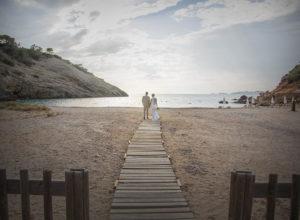 couple on wooden walkway