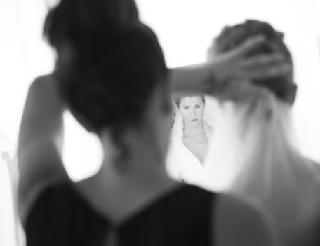 bride looking in mirror - Hotel Sant Joan de Binissaida