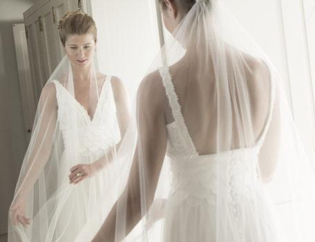 bride reflection in mirror - Hotel Sant Joan de Binissaida