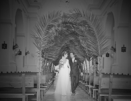 bride and groom walking down aisle - Hotel Sant Joan de Binissaida