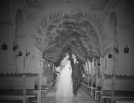 bride and groom walking down aisle - Hotel Sant Joan de Binissaida