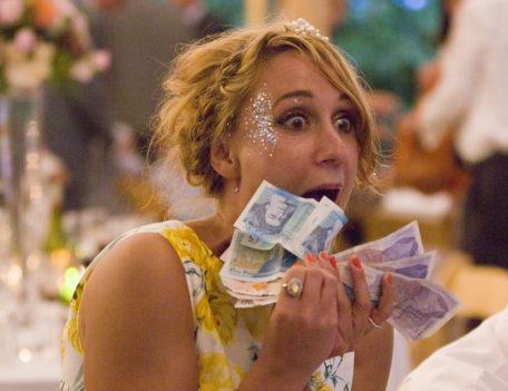 woman with money - English Wedding