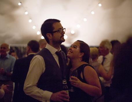 couple hug at wedding - English Wedding