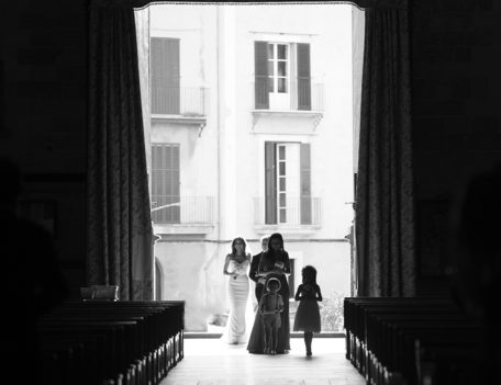 bride enters church - Hotel Cap Rocat