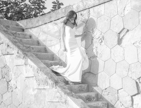 bride descends steps - Hotel Cap Rocat