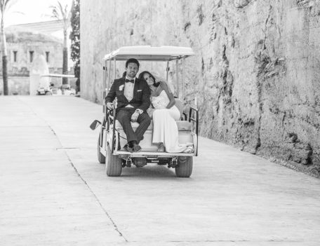 wedding couple in golf cart - Hotel Cap Rocat
