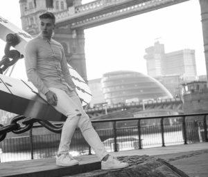 male model by Tower Bridge