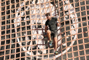 climbing net on assault course