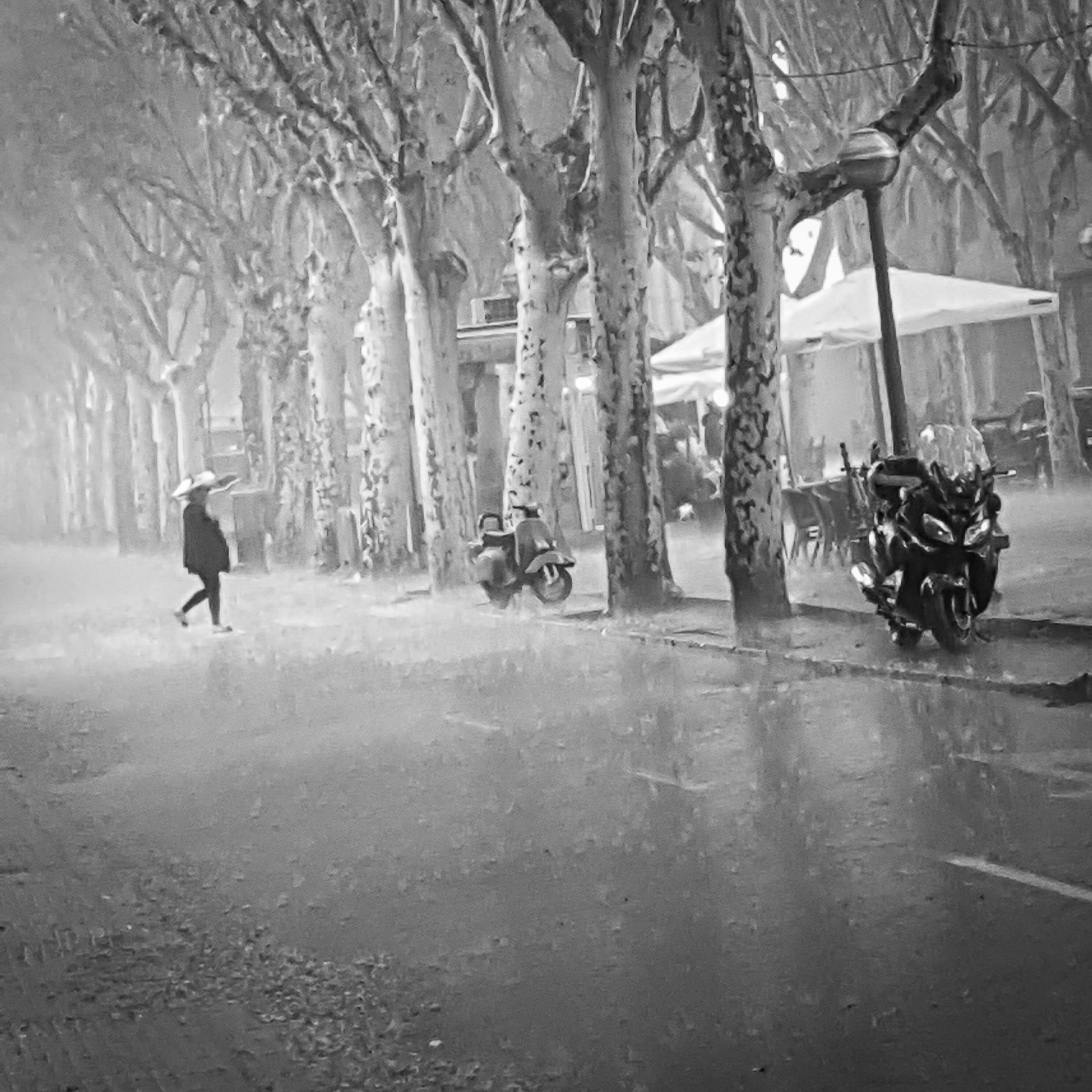 Mallorca rain swept street