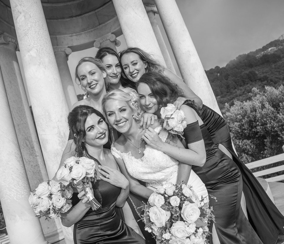 bride with bridesmaids group photograph