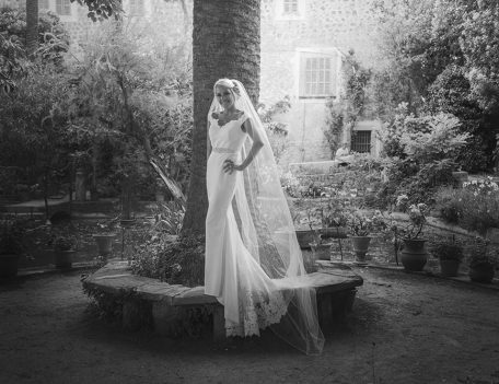 bride on stone seat by tree - The Bride at Son Marroig