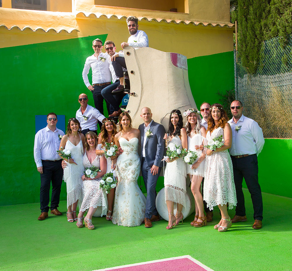 group wedding photograph on roller skate