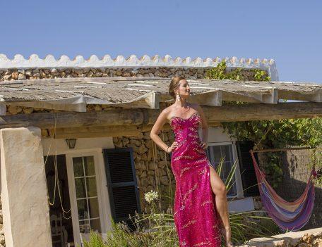 woman on wall in cocktail dress - Santa Barbara