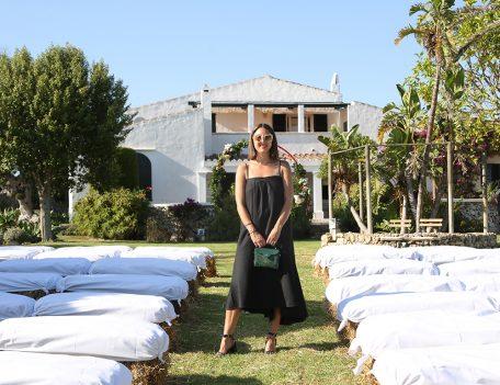 woman in black dress at wedding - Santa Barbara