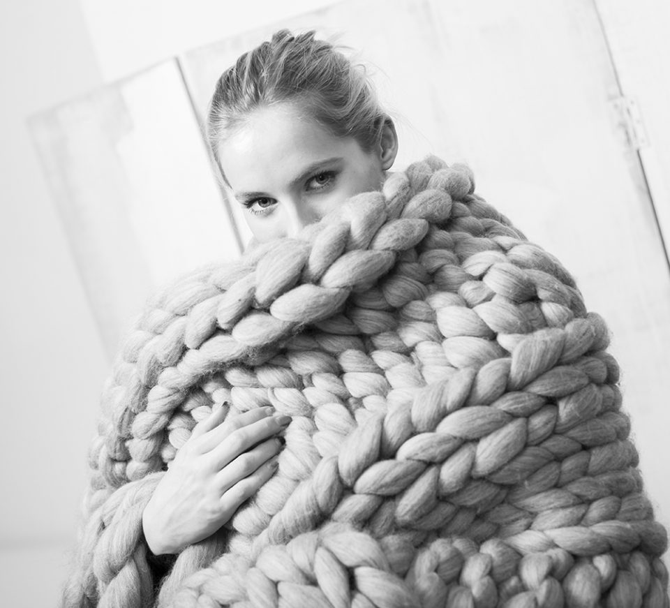 woman with large scarf