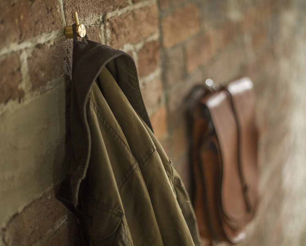 coat and bag on hooks