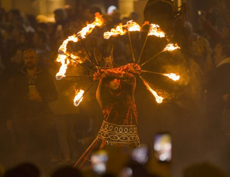 man with torches - Las Fallas