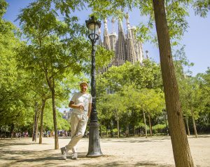 man by Sagrada Familia