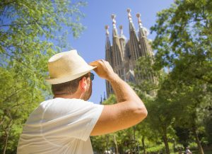 Man with Sagrada Familia